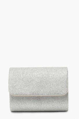 boohoo Structured Metallic Clutch Bag & Chain