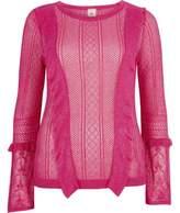 River Island Womens Pink open knit frill detail jumper