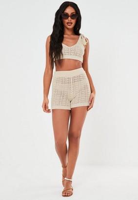 Missguided Petite Cream Co Ord Crochet Crop Top