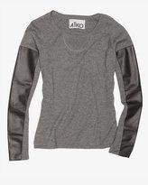 Aiko Exclusive Kwan Leather Sleeve Sweater