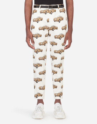Dolce & Gabbana Stretch Cotton Pants With Small Car Print