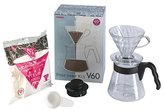 Hario Pour Over Kit with 700 ml V60 Dripper/Coffee Server/Filter Papers/Measuring Scoop, Plastic, Transparent, 4-Piece