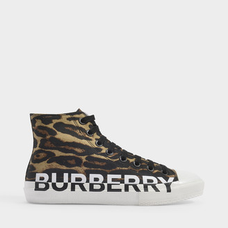Burberry Larkhall Leo High Sneakers In Brown Cotton