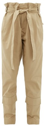 BEIGE Colville - Paperbag-waist Belted Cotton-twill Trousers - Womens