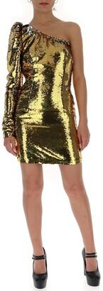 Amen Off-Shoulder Sequin Fitted Dress