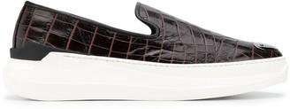 Giuseppe Zanotti Crocodile-Effect Slip-On Sneakers