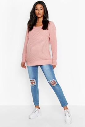 boohoo Maternity Slash Neck Sweater