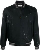 Saint Laurent galaxy print bomber jacket black