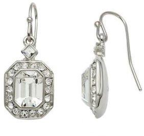 Carolee Silvertone Emerald-Cut Crystal Drop Earrings
