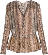 Rebecca Taylor Drawstring waist snake-print silk blouse