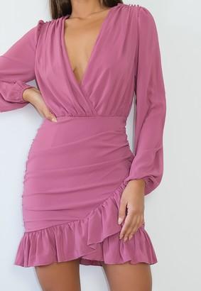 Missguided Petite Plum Frill Hem Wrap Bodycon Mini Dress