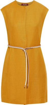 Max Mara Cera Belted Linen-blend Vest