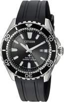 Citizen Men's 'Eco-Drive' Quartz Stainless Steel and Polyurethane Diving Watch, Color: (Model: BN0190-07E)