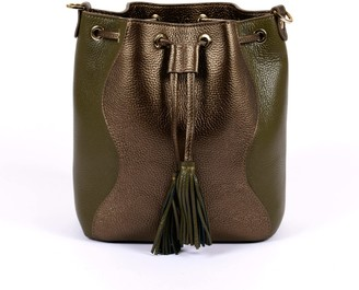 Hiva Atelier Rivus Leather Bag Metallic Brown & Khaki