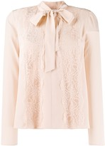 RED Valentino lace panel pussy-bow blouse