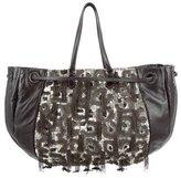 Valentino Sequin-Embellished Leather Bag