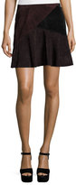 Nanette Lepore Suede Colorblock Skirt, Chocolate