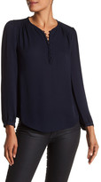 Rebecca Taylor Long Sleeve Button Front Silk Blouse