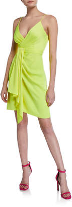 Jay Godfrey Feig V-Neck Spaghetti-Strap Drape-Front Mini Dress