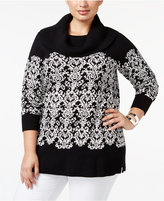 Charter Club Plus Size Damask Cowl-Neck Sweater, Only at Macy's