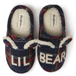 Dearfoams Boys and Girls Plaid Little Bear Clog