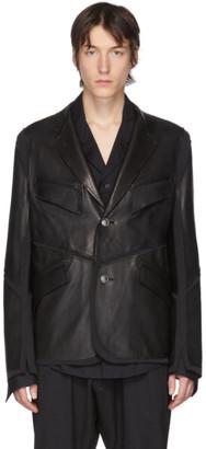 Sulvam Black Leather Jersey Jacket