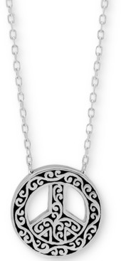 "Lois Hill Filigree Peace Sign Pendant Necklace in Sterling Silver, 18"" + 2"" extender"