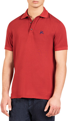 Isaia Men's Cotton Polo Shirt with Coral Accent