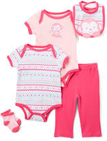 Buster Brown Fuchsia & Orchid Monkey Five-Piece Layette Set - Infant