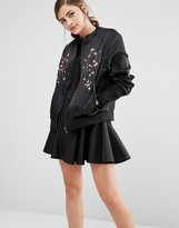 Fashion Union Satin Bomber Jacket With Embroidery