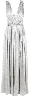 Jonathan Simkhai Plisse Open Neck Maxi Dress