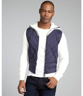 Moncler white and navy down filled zip front jacket