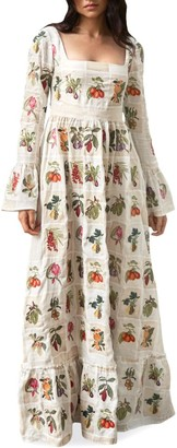 Agua Bendita Curuba Long-Sleeve Floral Maxi Dress