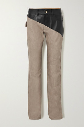 Bottega Veneta Leather-paneled High-rise Straight-leg Jeans - Beige