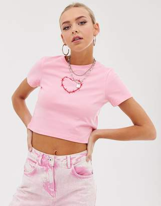 Asos Design DESIGN cropped t-shirt with barb wire heart
