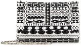 Oscar de la Renta Black & White Embroidered Satin DeDe Bag