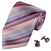 A2122 Purple Pink Stripes Woven Silk Ties Christmas Gift for Men 2PT By Y&G