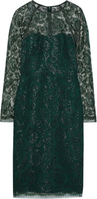 Lela Rose Metallic Lace Dress
