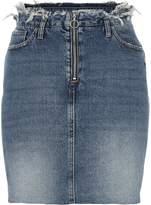 River Island Womens Mid Blue denim frayed waist denim skirt