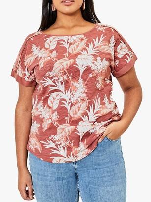 Oasis Curve Large Floral Print Cotton T-Shirt, Pink