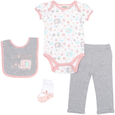 Cutie Pie Baby Pink & Gray Elephant Bodysuit & Leggings Set - Infant