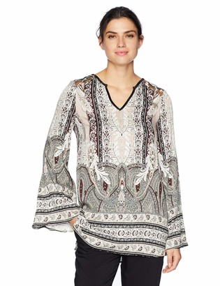 Tribal Women's Bell Sleeve Blouse with Contrast Back Yoke Detail