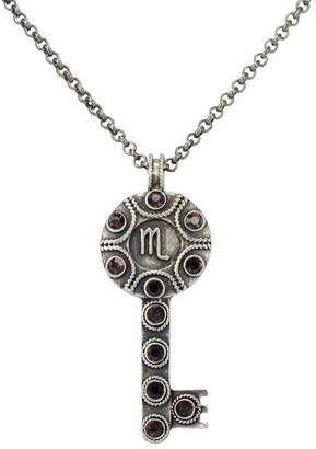 Zodiac and Crystal Key Pendant with Chain