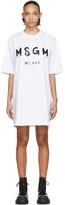 MSGM White Artist Logo T-Shirt Dress