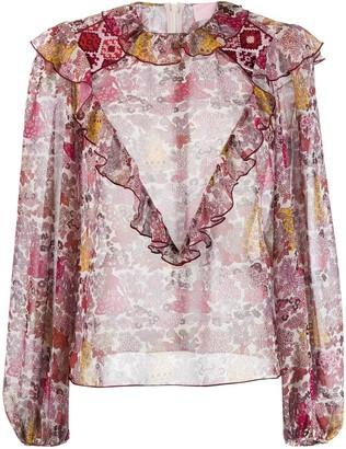 Giamba Sheer Floral Print Blouse