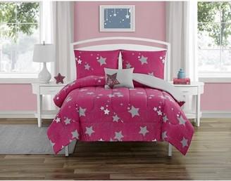 Beco Home Metallic Shining Stars 4 Piece Comforter Set with decor pillow Full