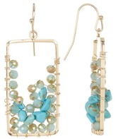 Natasha Accessories Wire-Wrapped Crystal & Stone Bead Open Rectangle Drop Earrings