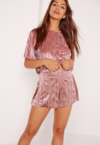 Missguided Crushed Velvet Shorts Pink