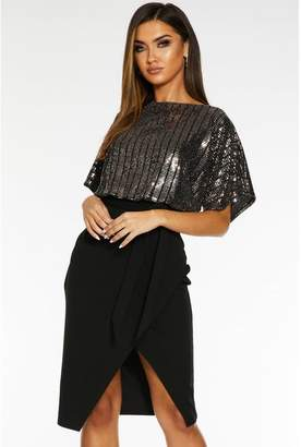 Quiz Rose Gold and Black Sequin Batwing Midi Dress