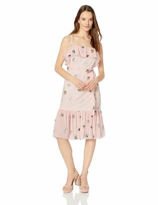 Betsey Johnson Women's Embroidered Mesh Dress Bare Essential Multi 4